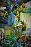 Flower arrangement at the sunflower field Royalty Free Stock Photo