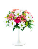 Flower arrangement. Table decoration with fresh flowers on white background Royalty Free Stock Photos