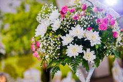 Flower arrangement. On the table for events in the light side Royalty Free Stock Images
