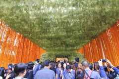 Flower Arrangement tunnel in Thai Royal Cremation Ceremony at Pak Klong Flower Market Royalty Free Stock Images