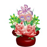 Flower Arrangement vector. Beautiful, colorful, vector flower arrangement in a dark red pot illustration.  Additional Format available upon request Stock Images