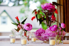 Flower Arrangement during a wedding Stock Image