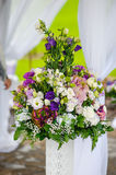 Flower arrangement at the wedding ceremony Stock Images