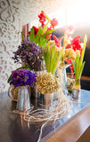 Flower arrangement at the wedding Stock Photos