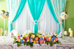 Flower arrangement at the wedding ceremony. Weddings flowers on the table Royalty Free Stock Photography