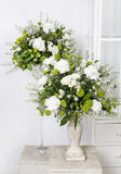 Flower arrangement with white carnations Stock Images
