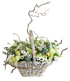 Flower arrangement in wicker basket, bouquet of orchids, lisiant Stock Images