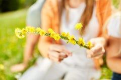 Flower arrangement of yellow flowers. Flower arrangement of yellow dandelion flowers as a hair accessory Stock Images
