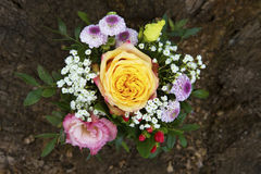 Flower arrangement with yellow rose Royalty Free Stock Images