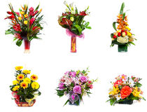 Flower arrangements selection stock photo