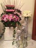 Flower arrangment. Colourful flower arrangement with candels Stock Photos