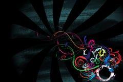 Flower art. Flowerish plust abstract grunge objects on a grunge raze background Stock Photo