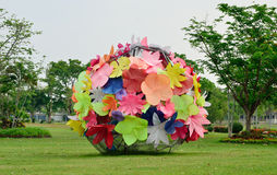 Flower art sculpture in garden Royalty Free Stock Photos