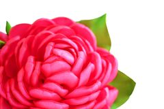 Flower artificial handmade pink rose from satiny ribbons with buds on white background, isolated. Flower artificial handmade pink rose from satiny ribbons with Royalty Free Stock Photos