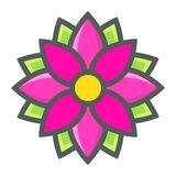 Flower Astra filled outline icon, easter holiday. Flower Astra filled outline icon, easter and holiday, nature sign vector graphics, a colorful line pattern on a Stock Photography