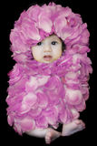 Flower baby. Three months old cute little baby girl in purple flower dress Stock Images
