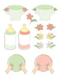 Flower Baby Set. A set of baby elements including diapers, bottles, cute flowers, and tiny hands on blank circles Royalty Free Stock Photo