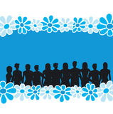 Flower background. Group of people - additional ai and eps format available on request Royalty Free Stock Image