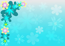 Flower background. Abstract illustration with color flower on blue background Royalty Free Stock Photography