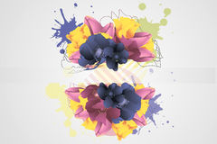 Flower Background. Graphic colorful background with flowers Stock Photo