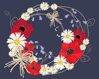 Flower background. An illustration of an abstract flower design with daisies poppies and harebells arranged in a circle on a dark background vector illustration