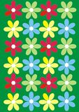 Flower background. With red and green daisies vector illustration
