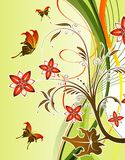 Flower background. With butterfly and wave pattern, element for design, vector illustration Stock Image