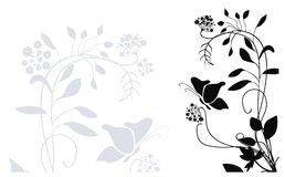 Flower background. Background with plants, flowers and butterflies Stock Photos