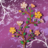 Flower background. Twig with beautiful flowers on violet background Royalty Free Stock Photos
