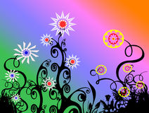 Flower Background. A group of flowers on a cool background vector illustration