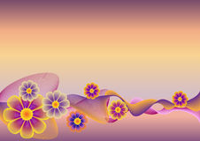 Flower background. With waves. A vector illustration Royalty Free Stock Image