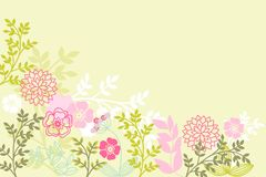 Flower background. Stylized flowers and grasses on a green background Stock Photo