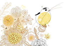 Flower background with bird Royalty Free Stock Photography