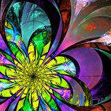 Flower background. Blue, purple and yellow palette. Fractal desi Royalty Free Stock Photo