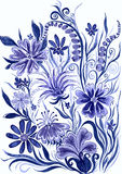 Flower background blue toned - watercolor painting on paper Royalty Free Stock Images