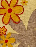Flower Background on Burlap Royalty Free Stock Photo