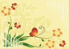 Flower background with butterflies. vector illustration