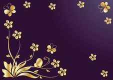 Flower background with butterflies. Gold Stock Photos