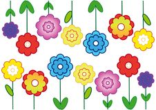 Flower background, cheerful flowering wallpaper. Flower background, cheerful wallpaper, colorful texture, isolated on white background, blooming flowers with Stock Photos