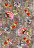 Flower background color pattern image cute graphics digital vintage colorful stock illustration