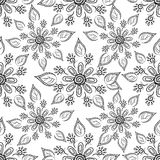 Flower background, contours. Seamless floral background, symbolical flowers and leafs, contours Royalty Free Stock Photos