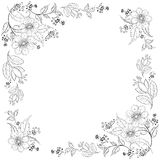 Flower background, contours. Vector, abstract background with a symbolical flowers, monochrome contours Stock Illustration
