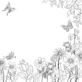 Flower background, contours. Abstract background with a symbolical flowers and butterflies, monochrome contours Stock Illustration