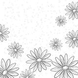 Flower background, contours. Abstract background with a symbolical flowers, monochrome contours Vector Illustration