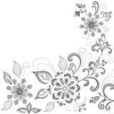 Flower background, contours. Floral background, symbolical flowers and leafs, contours Royalty Free Stock Photo