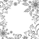 Flower background, contours. Floral background, symbolical flowers and leafs, contours Stock Image
