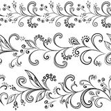 Flower background, contours. Seamless floral pattern, black symbolical contour flowers on white background Stock Photography