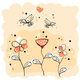 Flower background. Cute background with flowers and butterflies Royalty Free Stock Images