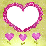 Flower background with doodle heart. Royalty Free Stock Image