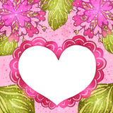 Flower background with doodle heart. Royalty Free Stock Photography